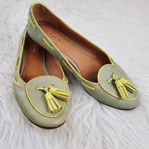 **Coach Malika Sz 6 Green Leather Tassel Flats